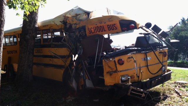 The wrecked school bus along Winding Creek Road. (Oct. 5, 2012/FOX Carolina)