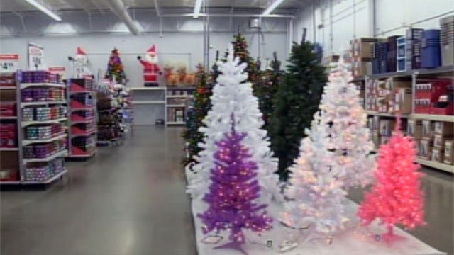 Christmas and other holiday items are on display and for sale at Upstate Walmart stores. (Oct. 8, 2012/FOX Carolina)