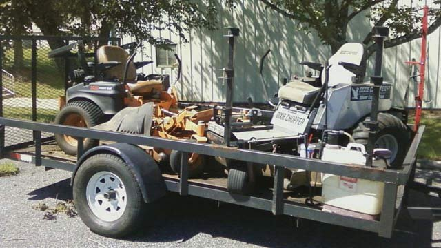 One of the trailers, lawn mowers and other equipment stolen Monday morning. (Courtesy Joshua Chastain)