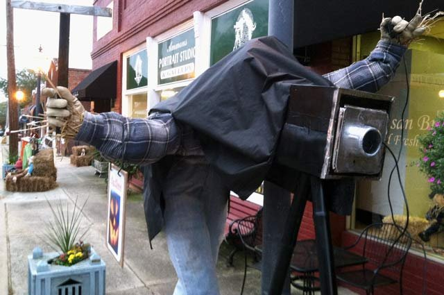 One of the local business's scarecrows on display in downtown Pendleton. (Oct. 9, 2012/FOX Carolina)