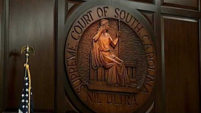 The seal of the South Carolina Supreme Court is seen on a wall in the court's chambers. (File/FOX Carolina)