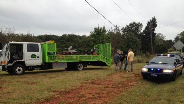 Deputies locate the stolen landscape truck and trailer. (Oct. 9, 2012/FOX Carolina)