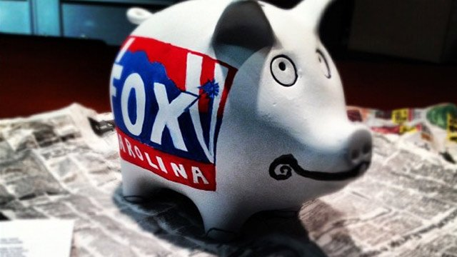 The FOX Carolina piggy bank that will be auctioned off on Thursday. (Oct. 15, 2012/FOX Carolina)