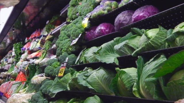 Produce is displayed on a shelf at a Greenville grocery store. (File/FOX Carolina)