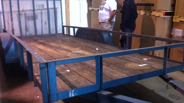 The float trailer after it was stripped and stolen of its decorations. (Courtesy Defenders For Children)