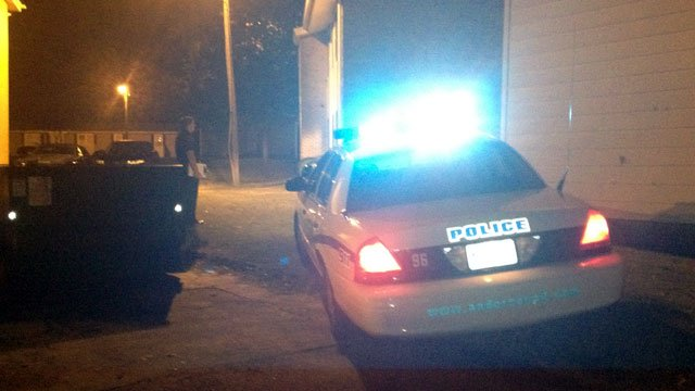 Anderson police mill about the scene of a shooting. (Oct. 16, 2012/FOX Carolina)