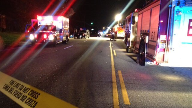 Authorities block off Poinsett Highway after a fatal crash. (Oct. 17, 2012/FOX Carolina)