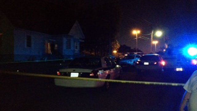 Crime scene tape is wrapped around an area where an officer shot a man in Anderson. (Oct. 17, 2012/FOX Carolina)