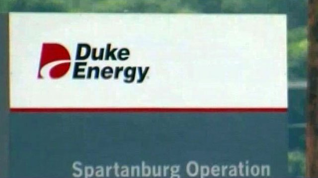The Duke Energy logo appears on a sign at a Spartanburg facility. (File/FOX Carolina)