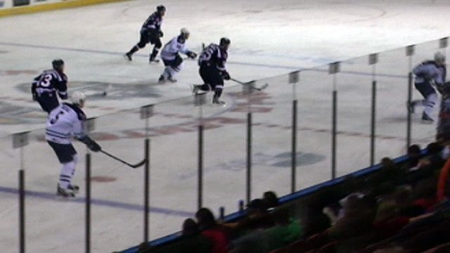 The Greenville Road Warriors skate down the ice at the Bi-Lo Center. (Oct. 19, 2012/FOX Carolina)