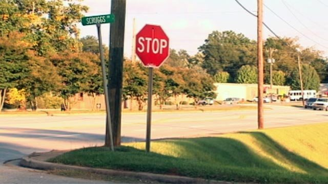 The intersection of North Main Street and Scruggs Drive where the crash happened. (Oct. 4, 2012/FOX Carolina)