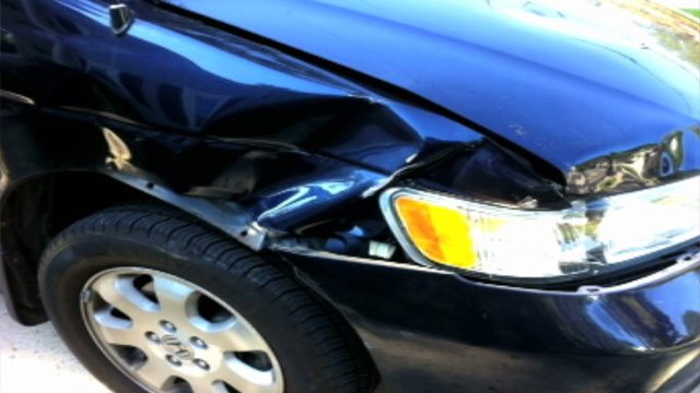 Cindy Laursen's car after a deer ran into it outside of Haywood Mall. (Courtesy Cindy Laursen)