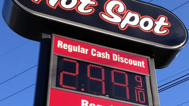 A price of $2.99 per gallon is displayed on a sign at a Hot Spot gas station in Spartanburg. (Oct. 24, 2012/FOX Carolina)