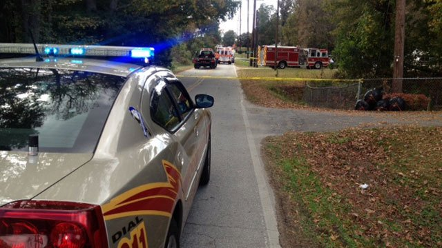 Part of a Woodruff street is cordoned off after a shooting. (Oct. 25, 2012/FOX Carolina)
