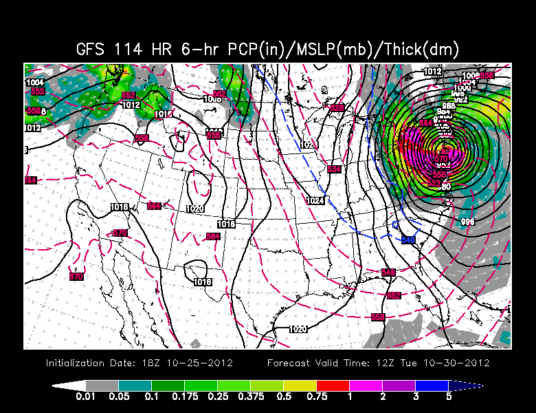GFS model projection for Sandy