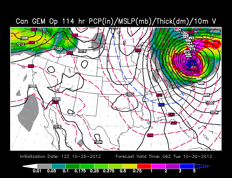 Canadian model projection for Sandy