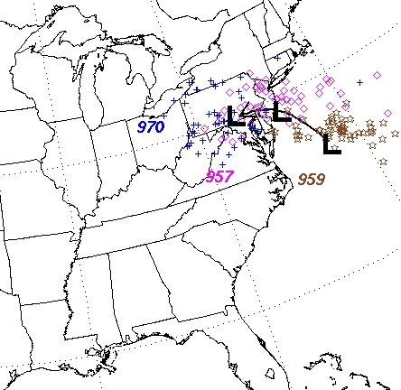 Sandy - surface low pressure positions (track) at or near landfall