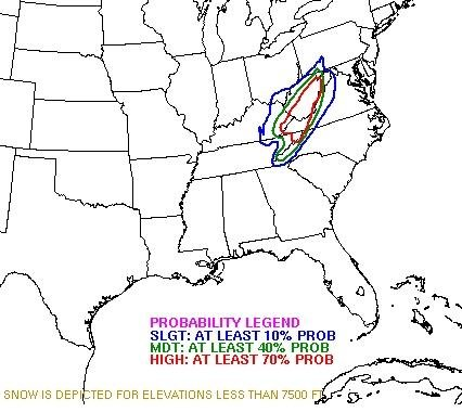 HPC probability for snow accumulations of at least 4""