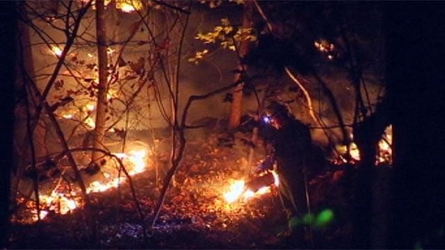 Firefighters battle brush fire at Saluda camp. (Oct. 30, 2012/FOX Carolina)