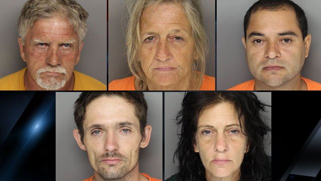 From top-left to lower-right: Ricky Gosnell, Donna Collins, Juan Cano, Matthew Smith and Melissa Hammond. (Greenville Co. Sheriff's Office)