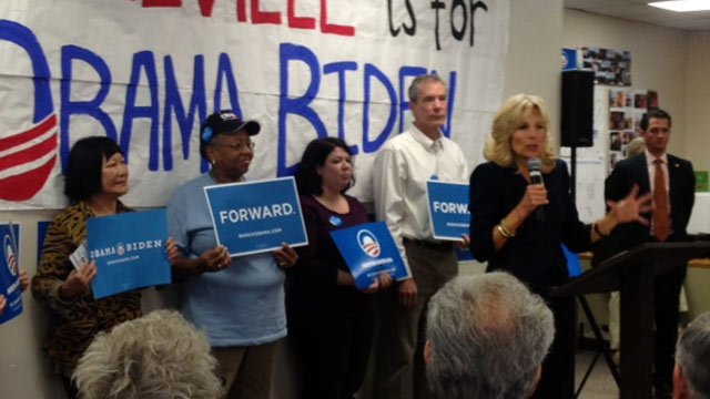 Dr. Jill Biden's addresses supporters at the Asheville Democratic campaign office on Friday. (Nov. 2, 2012/FOX Carolina)