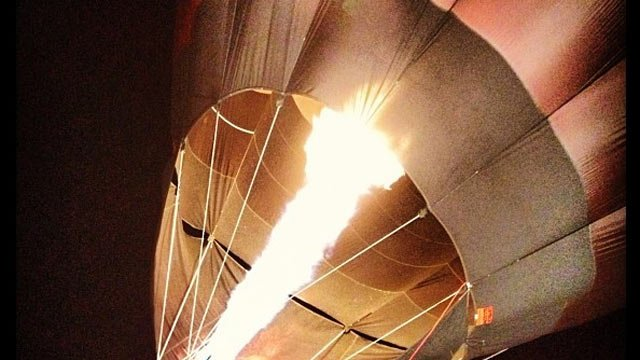 One of the hot air balloons is lit Friday morning. (Nov. 2, 2012/FOX Carolina)