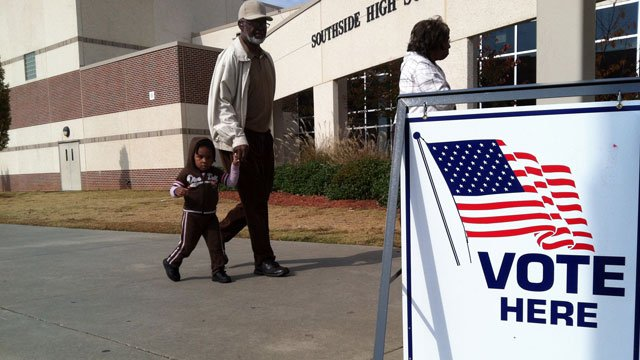 Voters walk into Southside High School in Greenville County on Election Day. (Nov. 6, 2012/FOX Carolina)