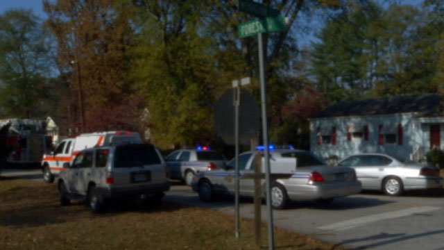 Emergency workers are at the scene of crash after a woman was hit while raking leaves. (Nov. 6, 2012/FOX Carolina)