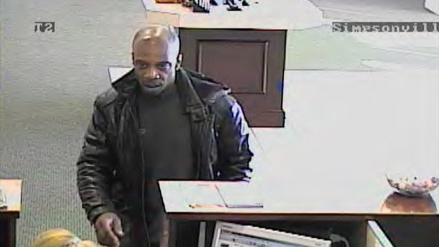 Surveillance photo shows the man police said robbed the First Citizens Bank in Simpsonville. (Nov. 8, 2012/Simpsonville Police Dept.)