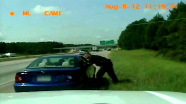 A Kershaw County deputy pulls over Dirico. (Courtesy Spartanburg Co. Sheriff's Office)