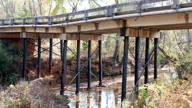 The 18 Mile bridge that spans 18 Mile Creek near Central was closed after three pilings broke. (SCDOT/Rob Thompson)