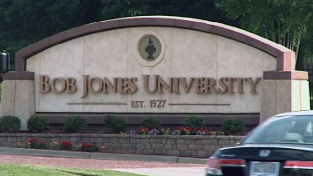 A sign indicates the main entrance of Bob Jones University in Greenville. (File/FOX Carolina)