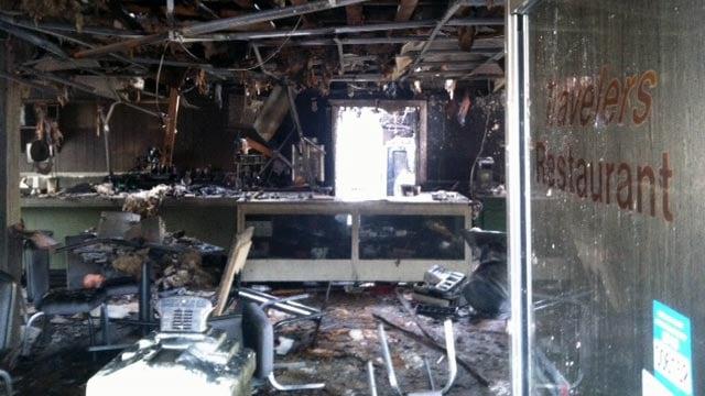 Traveler's Restaurant was destroyed after it caught fire on Thursday. (Nov. 8, 2012/FOX Carolina)