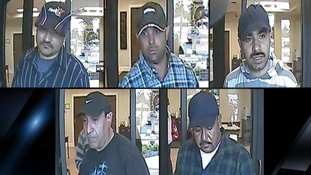 Henderson County deputies say these five men have been cashing stolen checks across western North Carolina. (Henderson Co. Sheriff's Office)