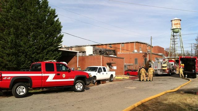 Firefighters respond to the old Liberty Denim plant on Mills Avenue. (Nov. 14, 2012/FOX Carolina)
