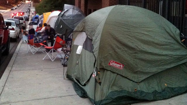 Tents line the fence surrounding Memorial Stadium in Clemson as students wait for tickets. (Nov. 14, 2012/FOX Carolina)
