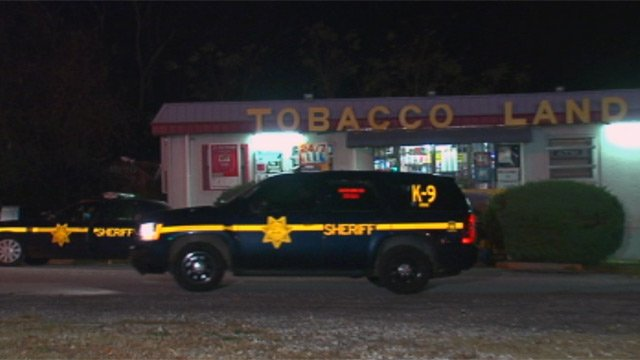 Deputies respond to a robbery at the Tobacco Land store on White Horse Road. (Nov. 14, 2012/FOX Carolina)