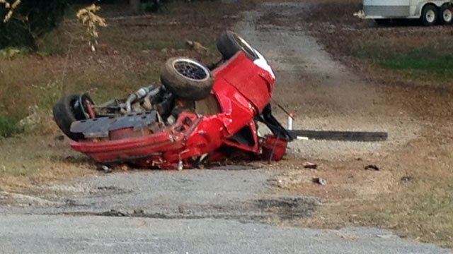 A mangled vehicle lays along Rock Springs Road after a fatal crash. (Nov. 16, 2012/FOX Carolina)