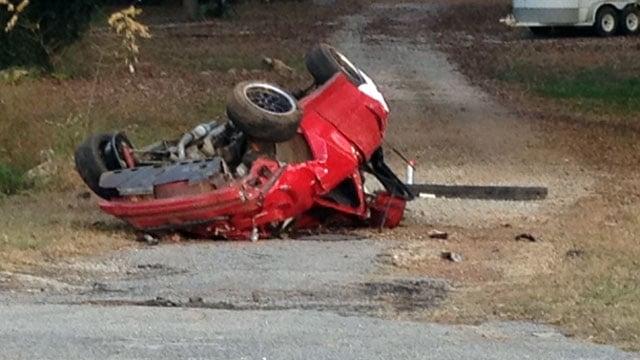 A mangled vehicle lays along Rock Springs Road after a fatal crash. (Nov. 16, 2012/FOX Carolina)