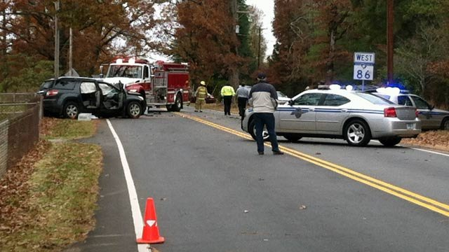 Troopers respond to the fatal crash along Highway 86. (Nov. 19, 2012/FOX Carolina)