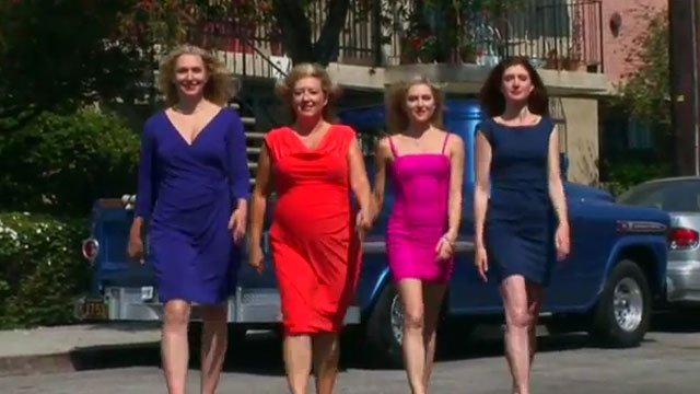"""From left: Delaine Yates, Sheila Hawkins, Katherine Bailess and Julia Fowler strut toward the camera in """"Sh%t Southern Women Say."""" (YouTube)"""