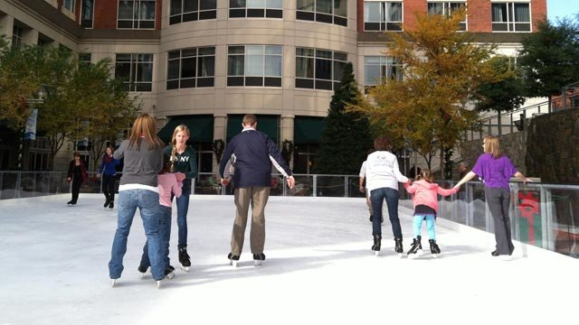 The first skaters take to the ice at Greenville Tech Ice on Main. (Nov. 23, 2012/FOX Carolina)
