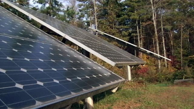 Several of the solar panels Jasmine's family uses to power their home. (File/FOX Carolina)