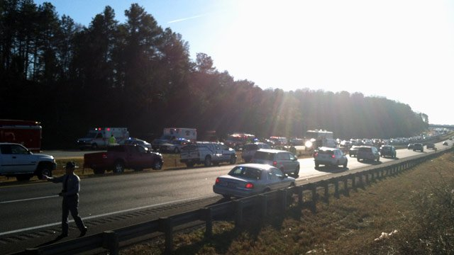 I-85 traffic was moving slowly in both directions near the MM 1 crash. (Nov. 25, 2012/FOX Carolina)