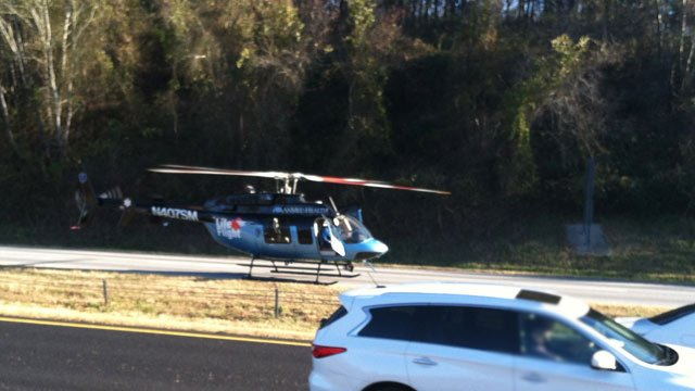 The Life Flight helicopter takes off for Greenville Memorial Hospital. (Nov. 25, 2012/FOX Carolina)