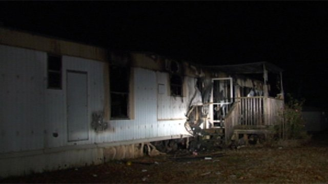 One of the mobile homes that was destroyed by fire on Sunday. (Nov. 25, 2012/FOX Carolina)