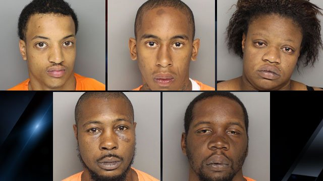 From top-left to lower-right: Juvonne Thorton, Rodrikus Brooks, Zandra Sherman, Sterling Mcgowan and Kiya Scott. (Greenville Co. Sheriff's Office)