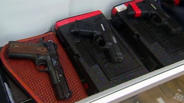 Some of the guns on display and for sale at a Spartanburg County firing range. (Nov. 27, 2012/FOX Carolina)