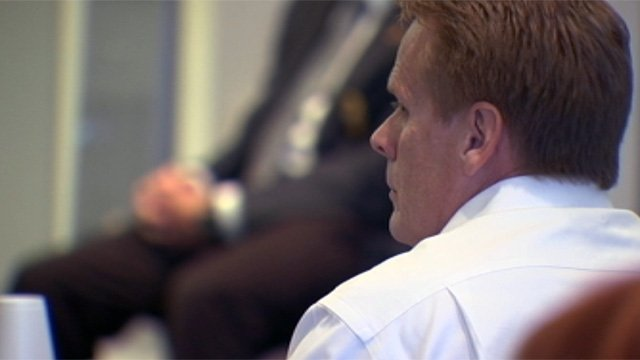 Donald Kinsela listens to testimony during his trial. (Nov. 28, 2012/FOX Carolina)