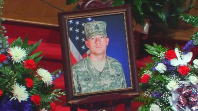 A photo of Sgt. Bo Hicks on display at his Greer funeral. (Nov. 28, 2012/FOX Carolina)